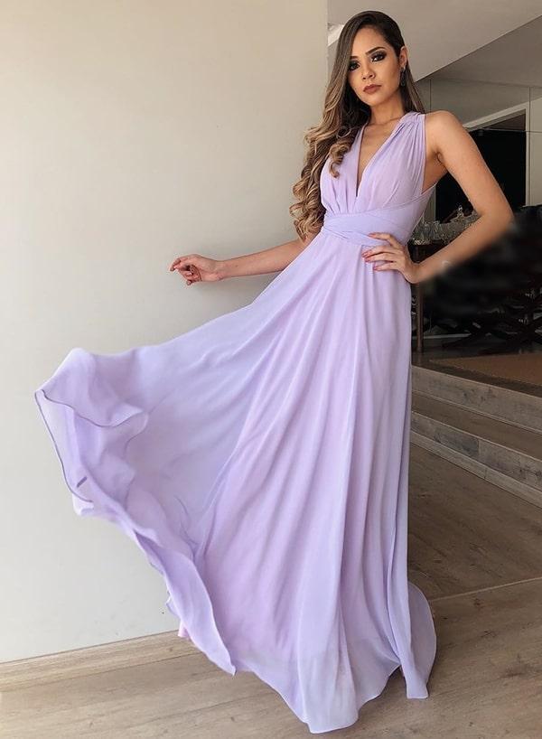 vestido longo lavanda esvoaçante