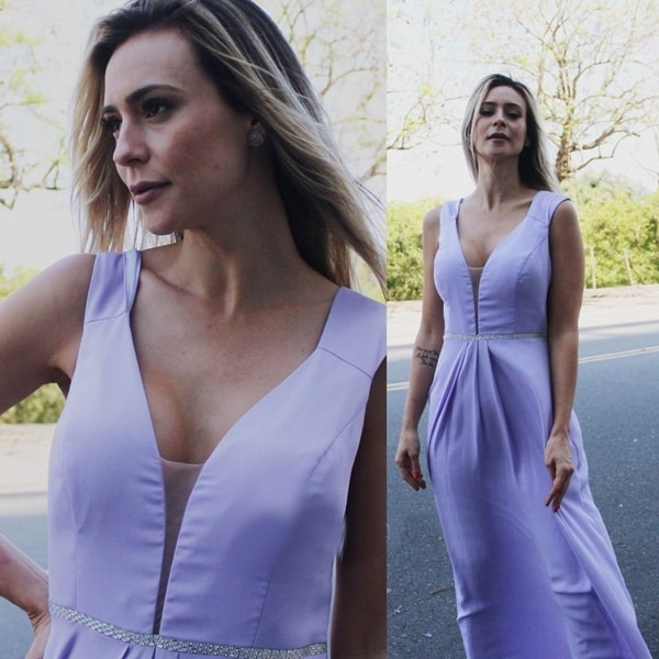 vestido longo lavanda para madrinha