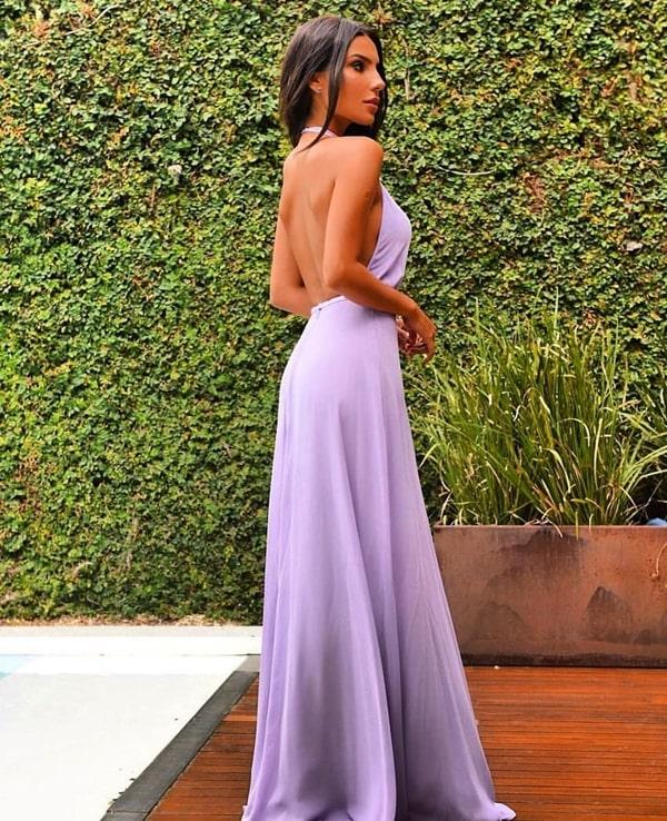 vestido longo lavanda frente única