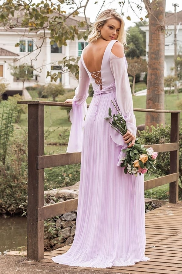 Vestido lavanda e lilás para madrinha de casamento: 35 vestidos para arrasar no look!