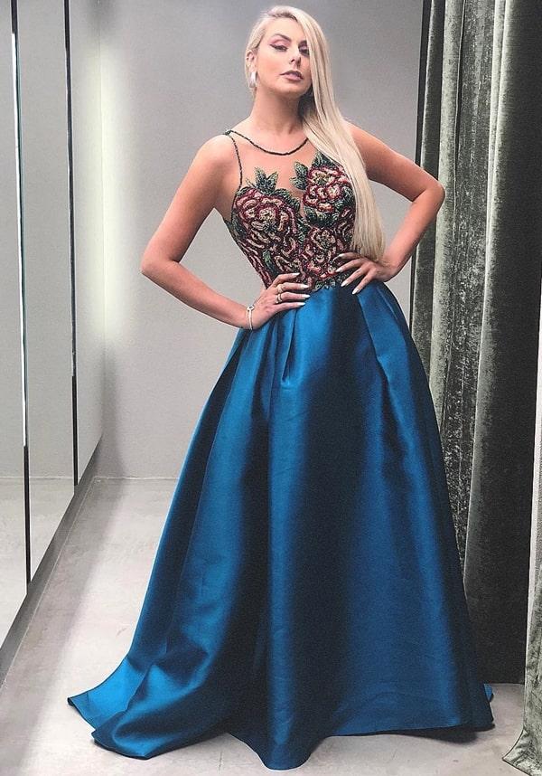 vestido longo azul petróleo estilo princesa