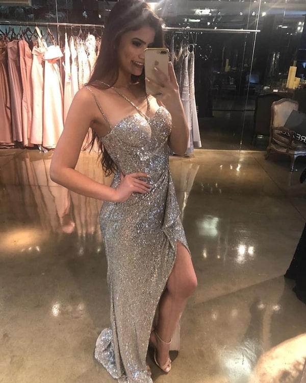 vestido longo prata com glitter
