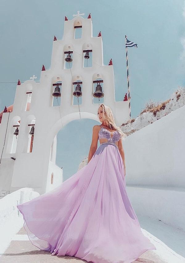 vestido de festa longo lavanda e lilás para madrinha de casamento