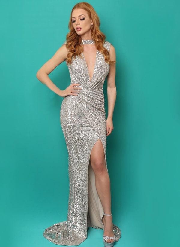vestido longo prata com muito brilho paetes