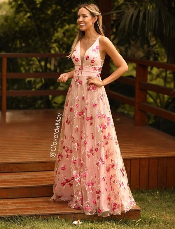 vestido de festa longo rosa  bordado floral