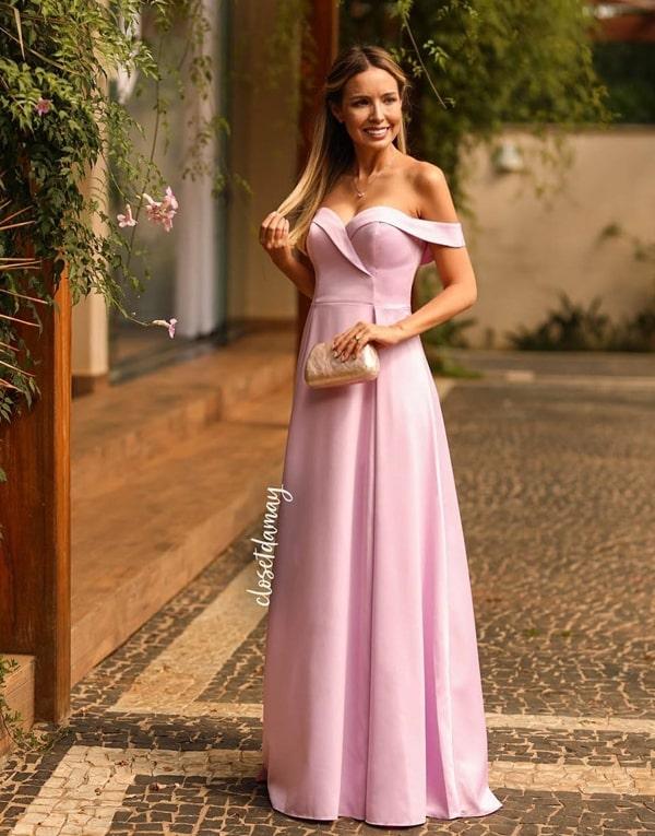 vestido de festa longo rosa