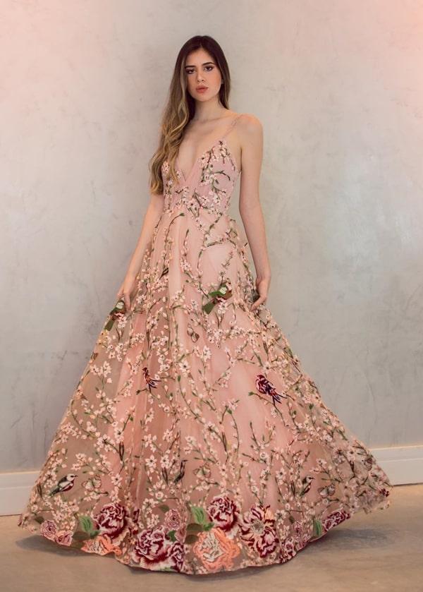 vestido longo rose bordado