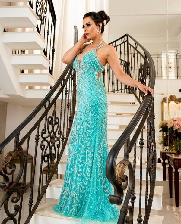 vestido longo tiffany bordado