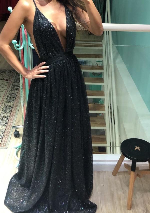 vestido longo preto com glitter