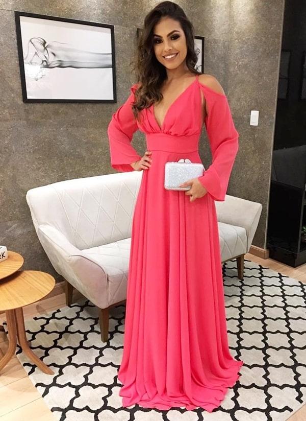 vestido de festa longo rosa pink para madrinha