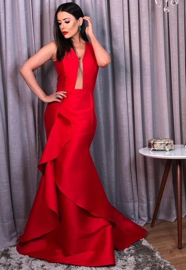 vestido longo vermelho modelo sereia