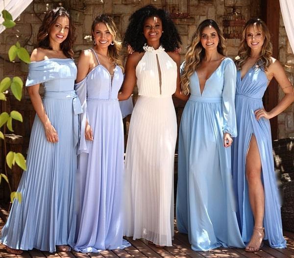 madrinhas de vestido azul claro