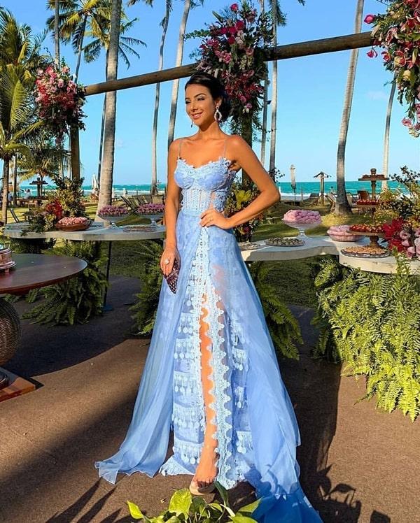 vestido de festa azul claro madrinha