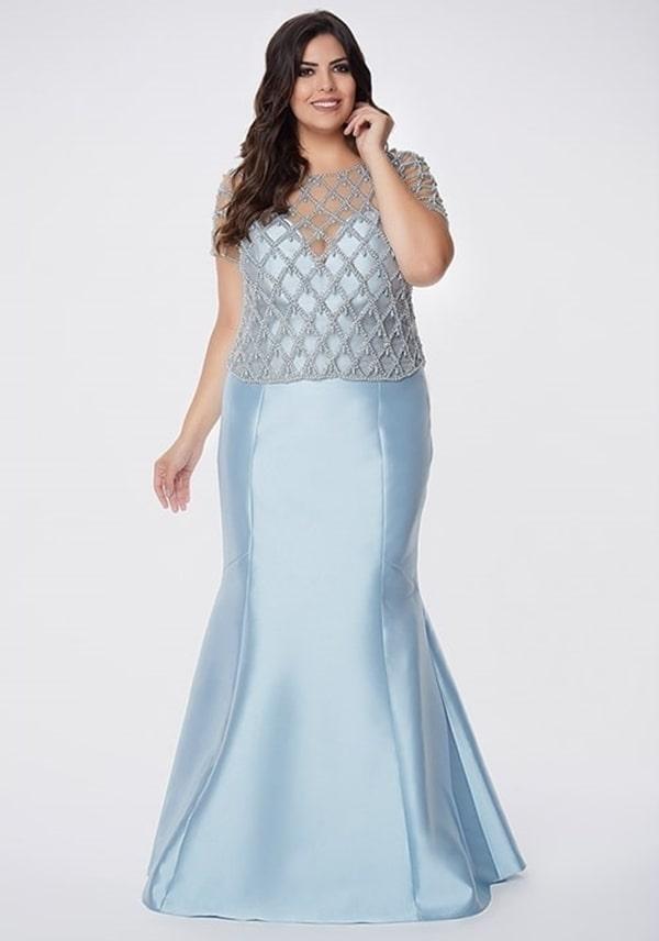 vestido de festa longo azul claro plus size