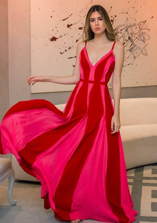 vestido de festa longo bicolor rosa pink e vermelho