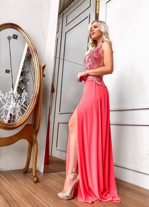 vestido de festa longo neon coral