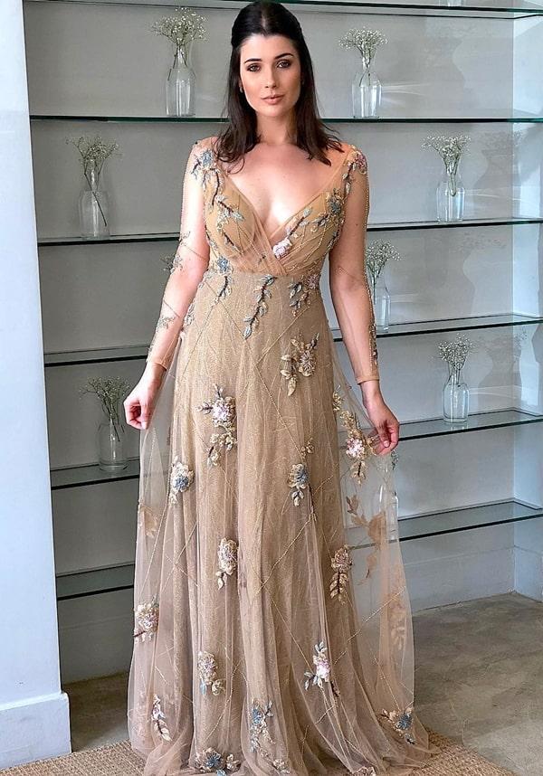 vestido de efsta longo dourado com manga para madrinha