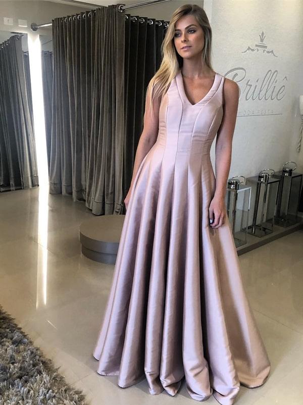 vestido de festa longo rosa alfaiataria estilo princesa