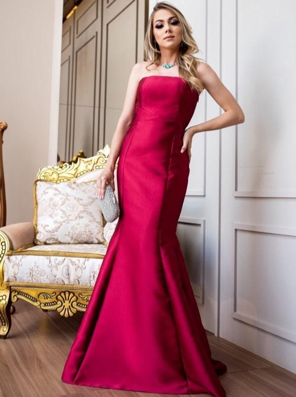 vestido de festa marsala alfaiataria