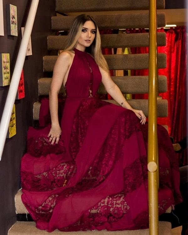 vestido de festa marsala para madrinha