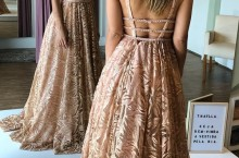 vestido de festa longo rose gold estilo princesa