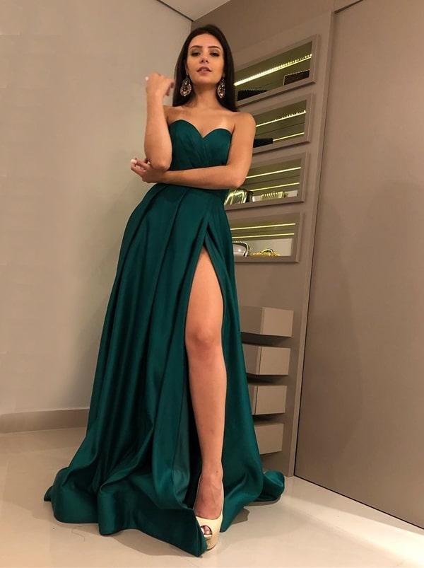vestido de festa longo verde esmeralda com fenda