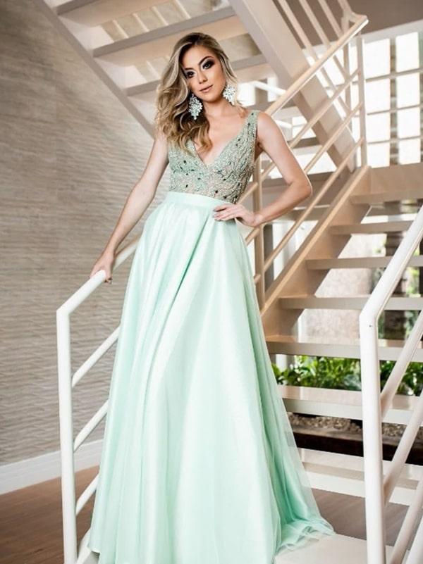 vestido de festa verde menta para madrinha