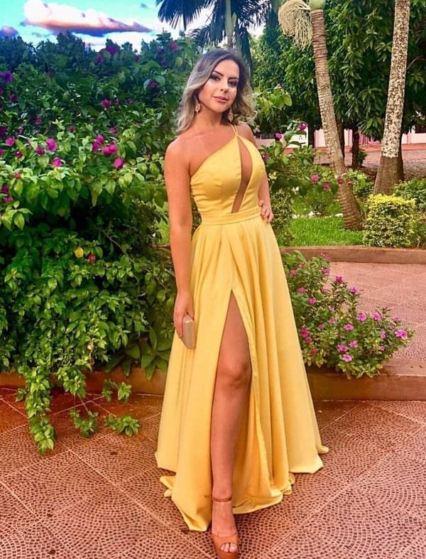 vestido longo amarelo para madrinha