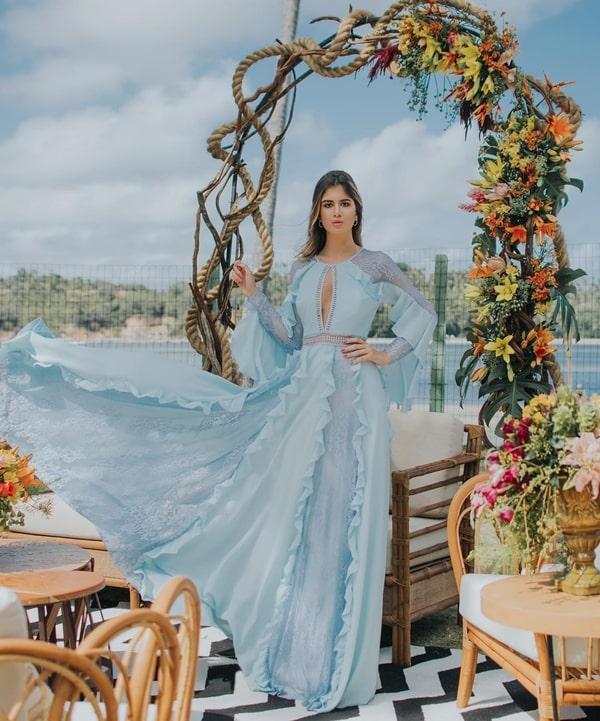 vestido de festa longo azu claro l com manga longa