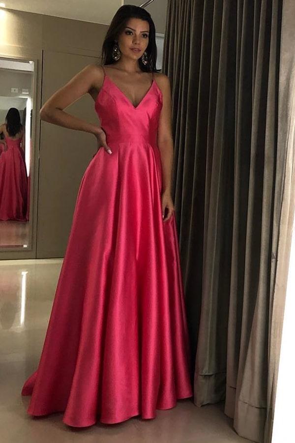 vestido de festa longo pink neon