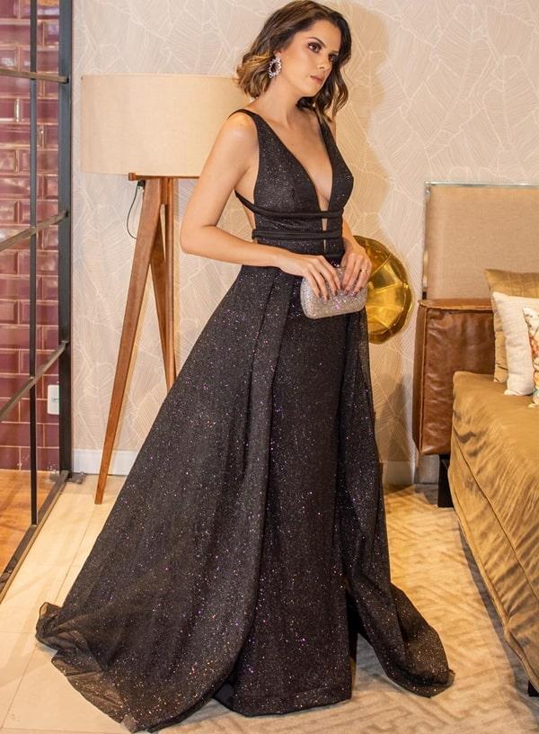 vestido de festa preto com brilho glitter modelo princesa