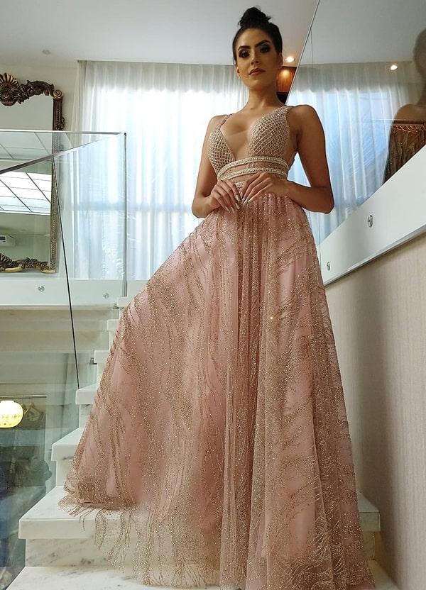 vestido longo rose com brilho glitter