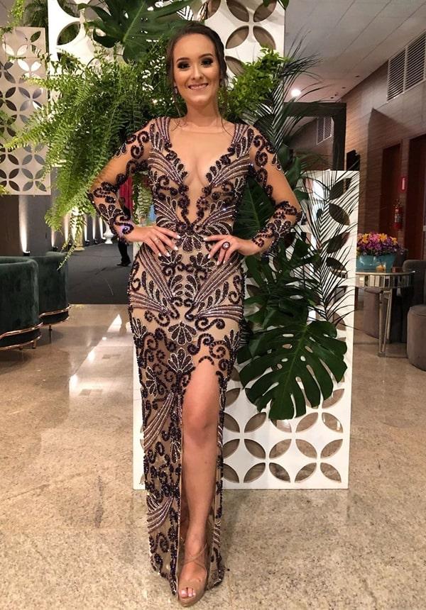 vestido de festa formatura marsala