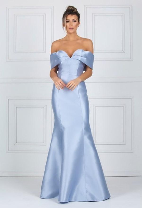 vestido de festa longo azul serenity para madrinha de casamento à noite