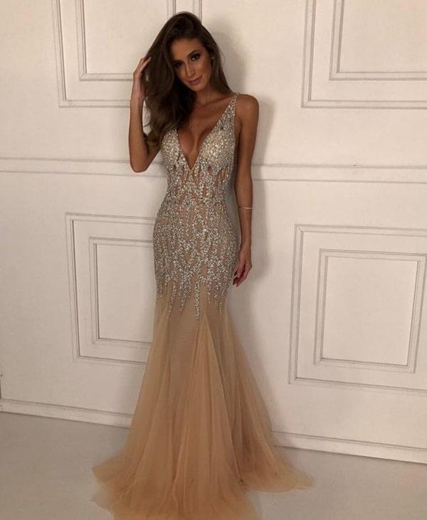 vestido de festa bordado formatura