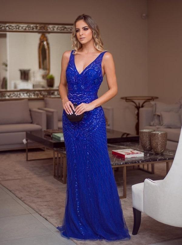 vestido de festa longo azul bic bordado