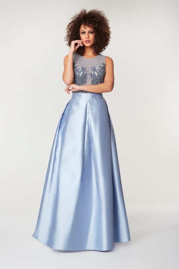 vestido de festa azul serenity para madrinha de casamento