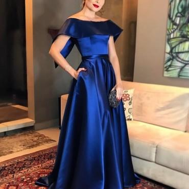 layla monteiro vestido de festa longo azul estilo princesa
