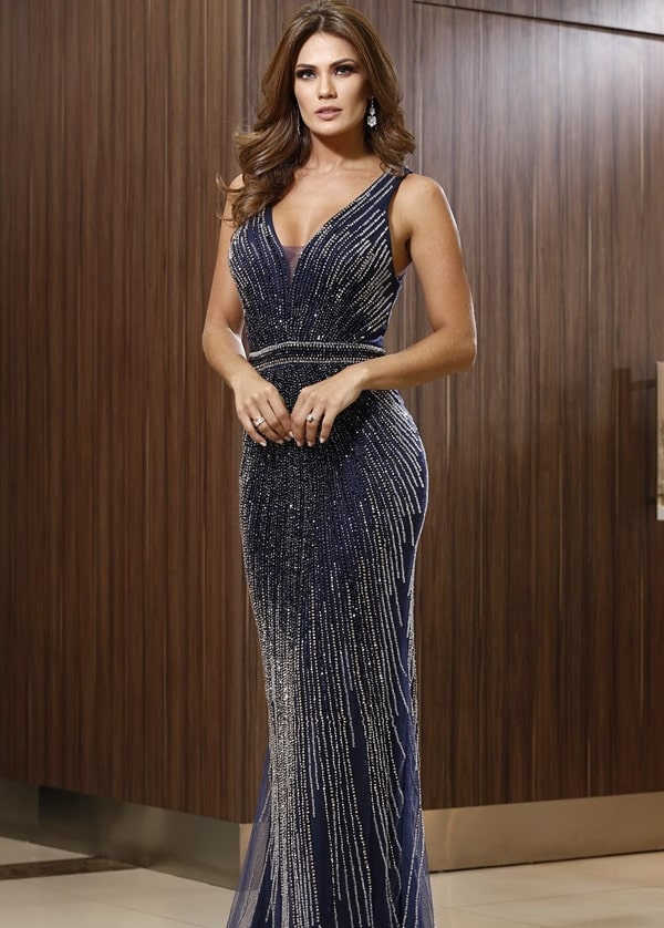 vestido de festa longo azul marinho para formanda