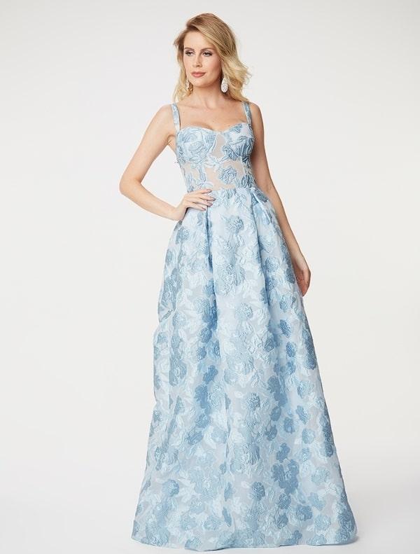 vestido de festa longo azul claro estilo princesa