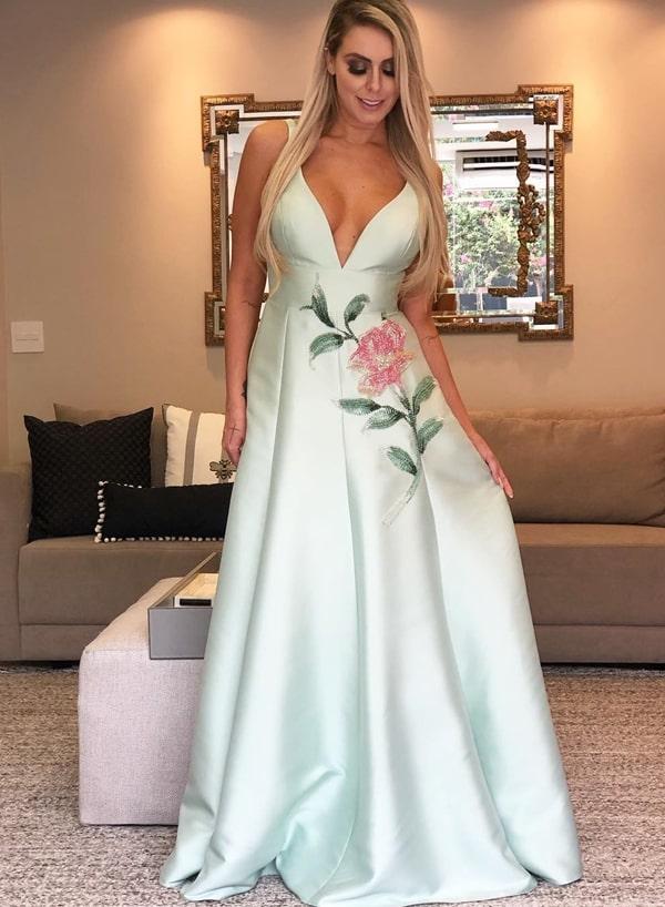 vestido de festa longo verde água estilo princesa