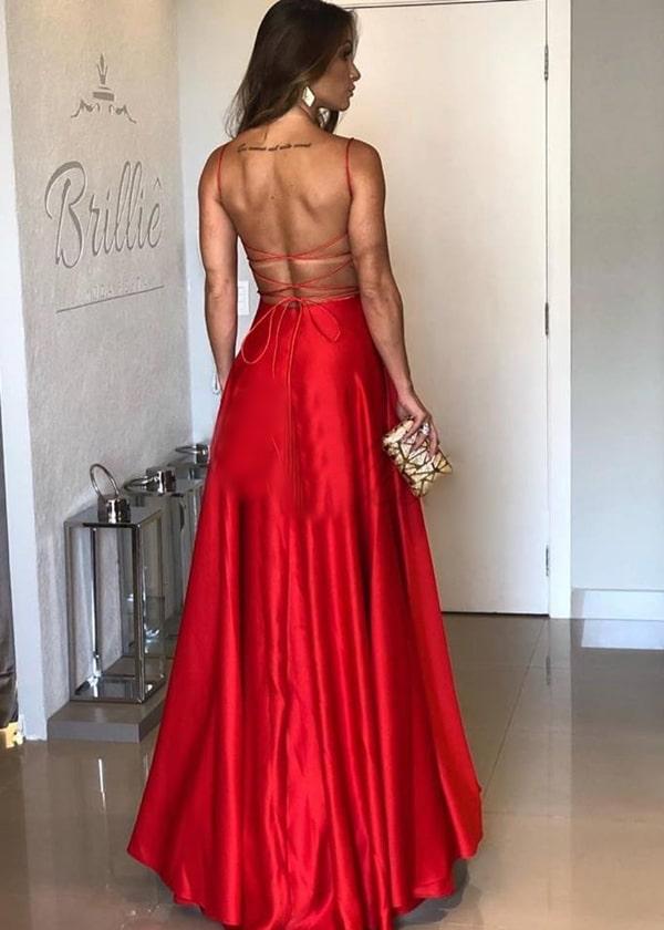 vestido de festa longo vermelho com decote nas costas