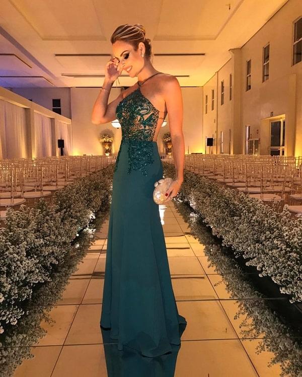 Layla Monteiro  vestido de festa longo verde