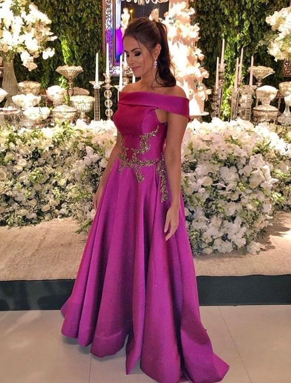 vestido longo fucsia estilo princesa