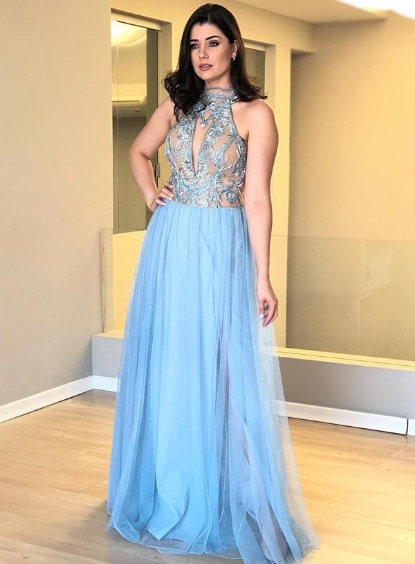 vestido de festa azul serenity madrinha