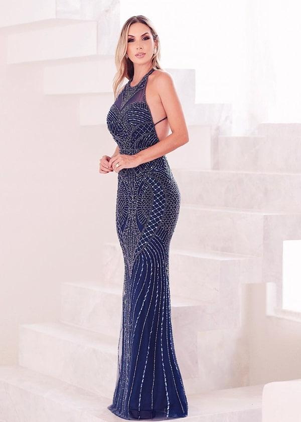 vestido de festa longo azul marinho bordado com decote nas costas para formanda