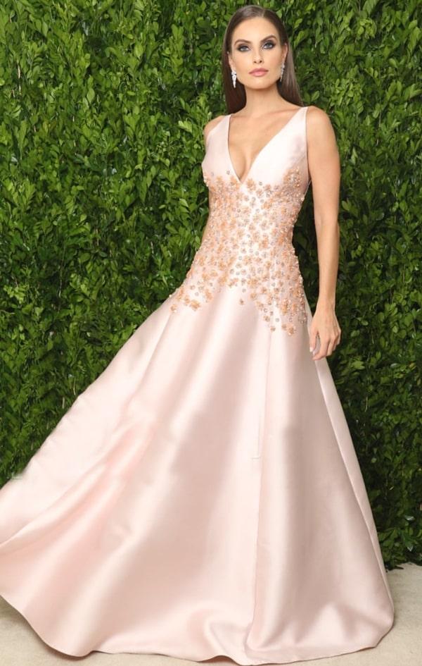 vestido rose estilo princesa