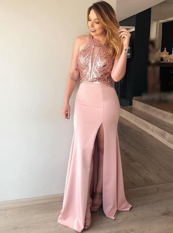vestido longo rose com fenda e bordado