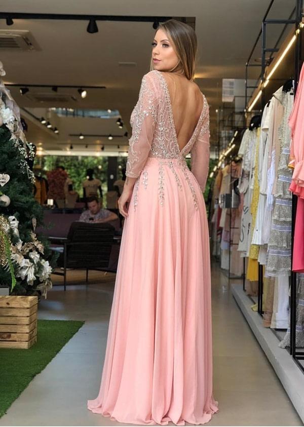 vestido logo rose com manga longa