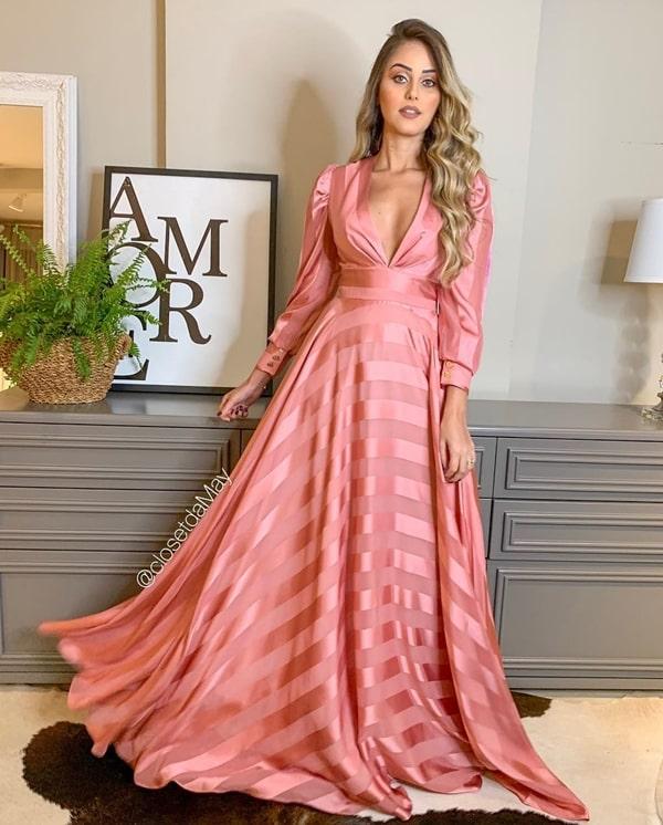 vestido de festa manga longa rosa madrinha
